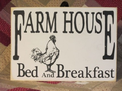 "Wooden ""Bed & Breakfast"" sign"