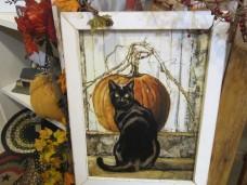 Framed Black Cat Picture