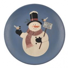 'Feed The Birds' Snowman Plate