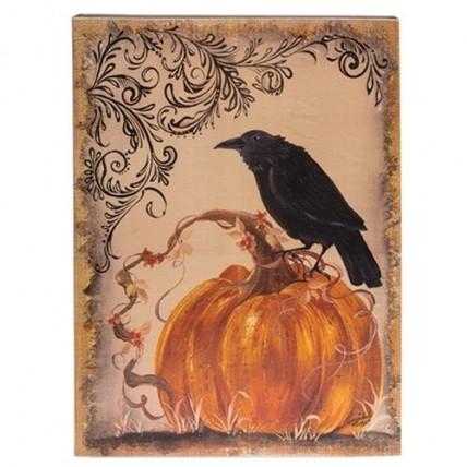 Crow & Pumpkin Wood Sign